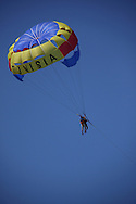 Scenes from Tunisia's resort area, El Kantouai, parasailing