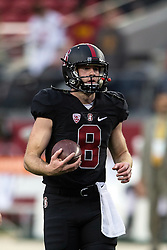 SANTA CLARA, CA - DECEMBER 05:  Quarterback Kevin Hogan #8 of the Stanford Cardinal warms up before the Pac-12 Championship game against the USC Trojans at Levi's Stadium on December 5, 2015 in Santa Clara, California. (Photo by Jason O. Watson/Getty Images) *** Local Caption *** Kevin Hogan