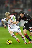 FOOTBALL - FRENCH CHAMPIONSHIP 2010/2011 - L1 - STADE RENNAIS v STADE BRESTOIS - 9/04/2011 - PHOTO PASCAL ALLEE / DPPI - NOLAN ROUX (BREST) / FABIEN LEMOINE (REN)