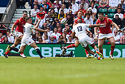 England's George For passes to Jamie Joseph during the The Old Mutual Wealth Cup match England -V- Wales at Twickenham Stadium, London, Greater London, England on Sunday, May 29, 2016. (Steve Flynn/Image of Sport)