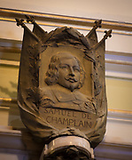 An artistic rendering of Samuel de Champlain, founder New France and Quebec City, is pictured inside the Cathedral-Basilica of Notre-Dame de Québec. (Photo by Sam Lucero)