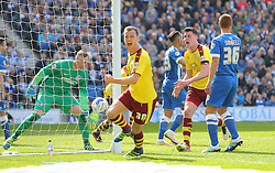 Michael Keane ( 2nd R ) of Burnley celebrates after he scores to make it 2-2 - Mandatory by-line: Paul Terry/JMP - 02/04/2016 - FOOTBALL - Amex Stadium - Brighton, England - Brighton and Hove Albion v Burnley - Sky Bet Championship