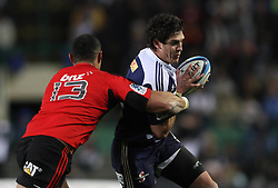 Stormers centre Jaque Fourie attempts to get past Crusaders centre Robert Fruean during the Super Rugby Semi-Final match between DHL Stormers and the Crusaders held at DHL Newlands Stadium in Cape Town, South Africa on 2 July 2011...Photo by Shaun Roy / Sportzpics.net