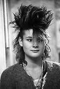 Catherine Harper Girl with punk Hairstyle, High Wycombe, UK, 1980s.