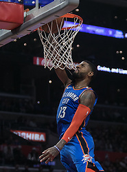 March 8, 2019 - Los Angeles, California, United States of America - Paul George #13 of the Oklahoma Thunder  dunks the ball during their NBA game with the Los Angeles Clippers on Friday March 8, 2019 at the Staples Center in Los Angeles, California. Clippers defeat Thunder, 118-110.  JAVIER ROJAS/PI (Credit Image: © Prensa Internacional via ZUMA Wire)
