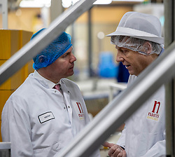 Pictured: Derek Mackay and Nairns Oatcakes managing director Marytn Gray.<br /> <br /> Economy Secretary Derek Mackay visited Nairn's Oatcakes in Edinburgh today to comment on the latest export and GDP statistics. Mr Mackay enjoyed a short tour of the factory where staff demonstrated the manufacturing process.<br /> <br /> Ger Harley | EEm 30 January 2019