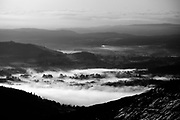 Morning temperature inversion over Windermere, from Red Screes, Kirkstone Pass