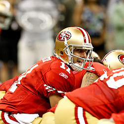 August 12, 2011; New Orleans, LA, USA; San Francisco 49ers quarterback Alex Smith (11) during the first half of a preseason game against the New Orleans Saints at the Louisiana Superdome. Mandatory Credit: Derick E. Hingle