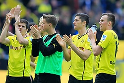 03.05.2014, Signal Iduna Park, Dortmund, GER, 1. FBL, Borussia Dortmund vs TSG 1899 Hoffenheim, 33. Runde, im Bild vl: Kevin Grosskreutz (Borussia Dortmund #19), Robert Lewandowski (Borussia Dortmund #9) traurig, Erik Durm (Borussia Dortmund #37) und Jonas Hofmann (Borussia Dortmund #7) // during the German Bundesliga 33th round match between Borussia Dortmund and TSG 1899 Hoffenheim at the Signal Iduna Park in Dortmund, Germany on 2014/05/03. EXPA Pictures © 2014, PhotoCredit: EXPA/ Eibner-Pressefoto/ Schueler<br /> <br /> *****ATTENTION - OUT of GER*****
