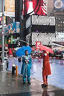New York. Times square area under the rain  New york - United states  Manhattan / Times square  sous la pluie, devant la bank of america    New york