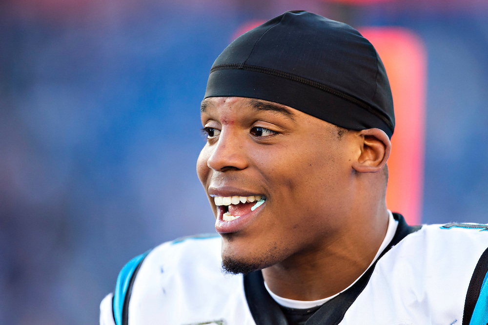NASHVILLE, TN - NOVEMBER 15:  Cam Newton #1 of the Carolina Panthers on the sidelines during a game against the Tennessee Titans at Nissan Stadium on November 15, 2015 in Nashville, Tennessee.  (Photo by Wesley Hitt/Getty Images) *** Local Caption *** Cam Newton