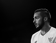 SEVILLE, SPAIN - OCTOBER 28:  (EDITORS NOTE: This image has been processed using digitals filters) Pablo Sarabia of Sevilla FC looks on during the La Liga match between Sevilla and Leganes at  Estadio Sanchez Pizjuan on October 28, 2017 in Seville, .  (Photo by Aitor Alcalde Colomer/Getty Images)