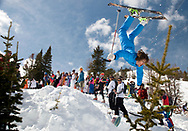 PRICE CHAMBERS / NEWS&amp;GUIDE<br /> Hundreds adorned in their best one-pieces and other fantastic costumes gathered near the top of the Thunder chair lift on Gaper Day, April 1, for a fun-filled parade of crazy skiing and tomfoolery.