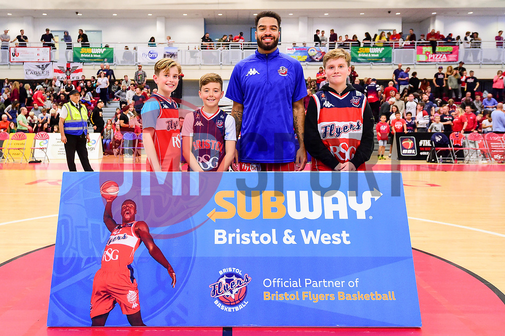 Lewis Champion of Bristol Flyers joins a Birthday Party at Half Time - Photo mandatory by-line: Ryan Hiscott/JMP - 03/11/2018 - BASKETBALL - SGS Wise Arena - Bristol, England - Bristol Flyers v Newcastle Eagles - British Basketball League Championship