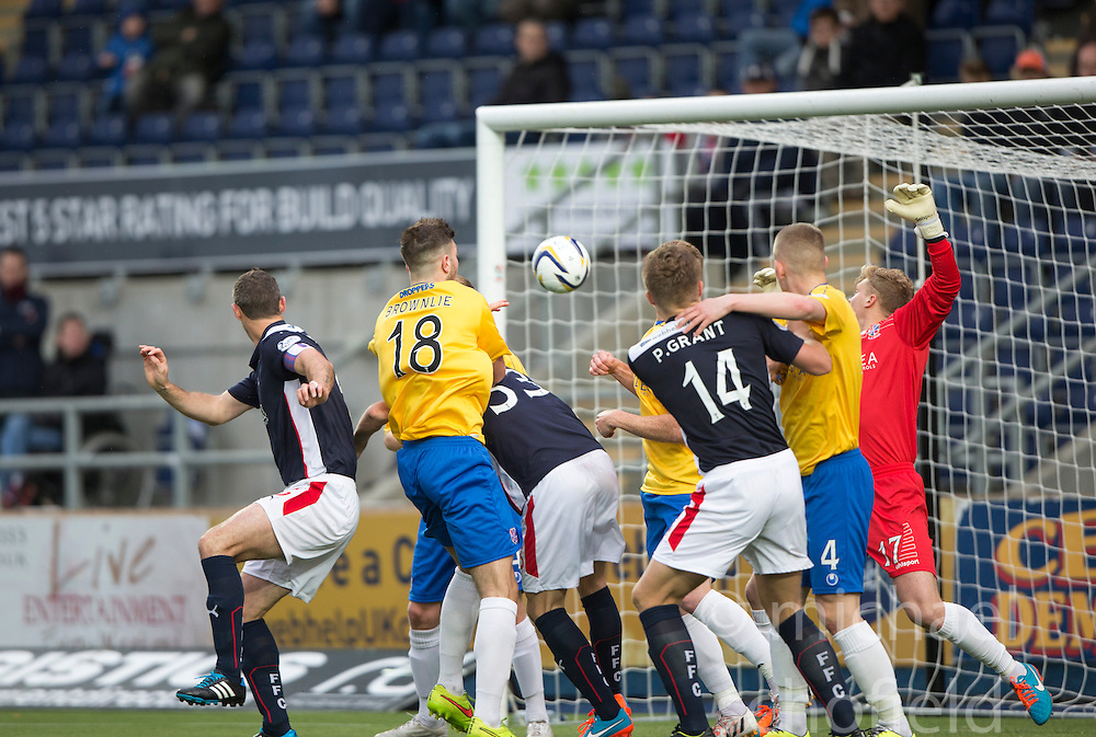 Falkirk's David McCrackenscoring their fifth goal.<br /> Falkirk 6 v 0 Cowdenbeath, Scottish Championship game played at The Falkirk Stadium, 25/10/2014.