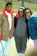 Three African American woman age 22 and 35 enjoying a MS Walk A Thon.  St Paul  Minnesota USA