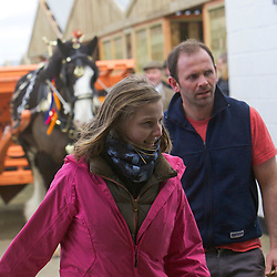 Stacey Fletcher, leading in her father, Mr John Fletcher's Single Agricultural Turnout with Ned, black gelding