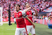Arsenal defender Hector Bellerin (24), Arsenal midfielder Aaron Ramsey (8)  celebrate winning goal during the The FA Cup Final match between Arsenal and Chelsea at Wembley Stadium, London, England on 27 May 2017. Photo by Sebastian Frej.
