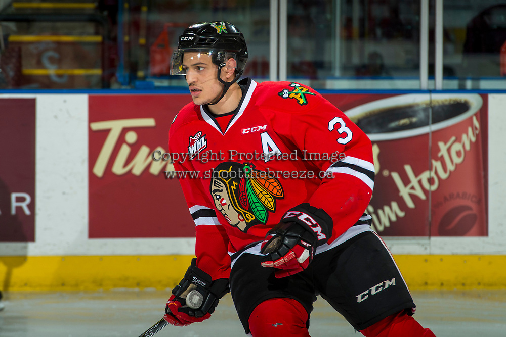 KELOWNA, CANADA - APRIL 7: Caleb Jones #3 of the Portland Winterhawks warms up against the Kelowna Rockets on April 7, 2017 at Prospera Place in Kelowna, British Columbia, Canada.  (Photo by Marissa Baecker/Shoot the Breeze)  *** Local Caption ***