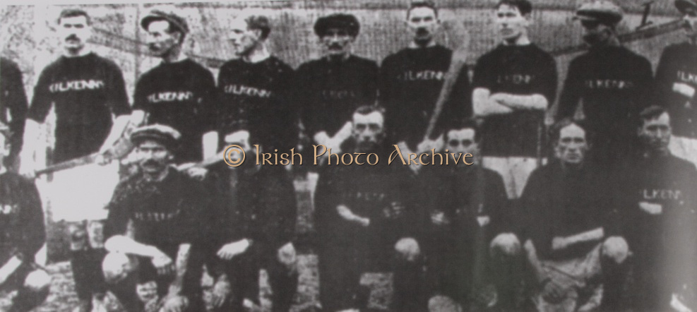 Kilkenny (Mooncoin)-All Ireland Hurling Champions 1913. Back Row: Dan Kennedy, Jack Rochford, Pierce Grace Jack Keoghan, John T Power, Dr John James Brennan, Matt Gargan, Dick Grace. Front Row: Jim Kelly, Sim Walton, Jack Lannon, Dick &quot;Drug&quot; Walsh, Mick Doyle, Dick Doherty, Dick Doyle.gaelic footballs,<br />