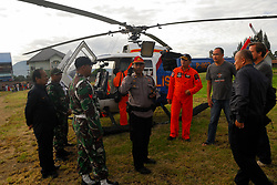 June 26, 2017 - Berastagi, North Sumatera, Indonesia - A police helicopter supported the search and searching accompanied by the Walter Klaus family for the missing German hiker that climb Mount Sibayak. (Credit Image: © Sabirin Manurung/Pacific Press via ZUMA Wire)