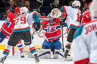 KELOWNA, CANADA - FEBRUARY 17: Jayden Sittler #33 of the Spokane Chiefs makes a second period save on a shot by Nolan Foote #29 of the Kelowna Rockets on February 17, 2017 at Prospera Place in Kelowna, British Columbia, Canada.  (Photo by Marissa Baecker/Shoot the Breeze)  *** Local Caption ***