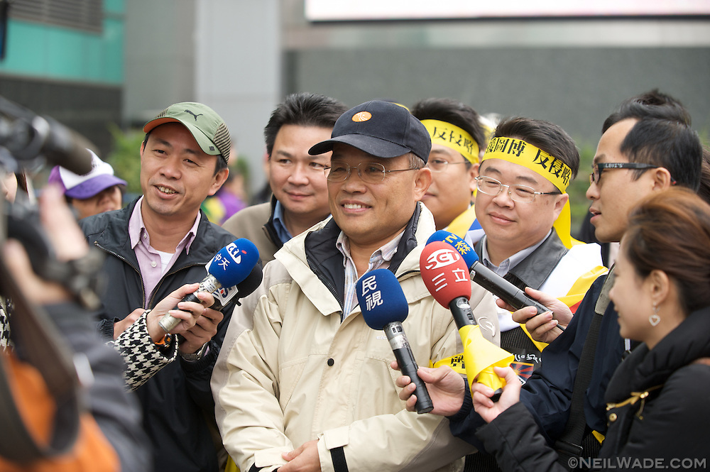 Taiwan DPP political party member Frank Hsein is interviewed before a FreeTibet rally in Taipei, Taiwan.