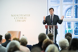 """© Licensed to London News Pictures. 16/11/2017. Manchester, UK. Manchester Mayor ANDY BURNHAM introduces former British Prime Minister Gordon Brown to host a talk about the financial crash and his time in politics, as Chancellor and then Prime Minister, as part of his promotional tour for his book , """" My Life, Our Times """", at the Manchester Central Library . Photo credit: Joel Goodman/LNP"""
