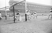 GAA All Ireland Minor football final Derry v. Kerry 26th September 1965 Croke Park...Derry's goal keeper G.Killen is well beaten as K. Griffen (Kerry) shoots and scores in the corner of the net..26.9.1965  26th September 1965