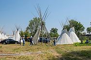 Crow Fair, setup tipi, Real Bird Camp, Richard, Jim, Jack, Sarcee, Goldman Real Bird, Crow Indian Reservation, Montana