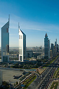 View of Dubai in the day from the Park Place Tower on Sheikh Zayed Road, Dubai (Emirates Towers in foreground). .January 2006, Dubai, United Arab Emirates Archive of images of Dubai by Dubai photographer Siddharth Siva