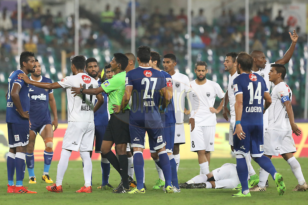 Dhanpal Ganesh of Chennaiyin FC   recevied receives a yellow card from the referee during match 6 of the Hero Indian Super League between Chennaiyin FC and NorthEast United FC held at the Jawaharlal Nehru Stadium, Chennai India on the 23rd November 2017<br /> <br /> Photo by: Arjun Singh  / ISL / SPORTZPICS