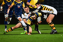 Dean Hammond of Worcester Cavaliers is tackled by Connor Eastgate and Sam Sterling of Wasps - Mandatory by-line: Craig Thomas/JMP - 23/10/2017 - RUGBY - Sixways Stadium - Worcester, England - Worcester Cavaliers v Wasps - Aviva A League