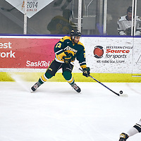 1st year forward, Arthur Miller (23) of the Regina Cougars during the Men's Hockey Home Game on Sat Jan 19 at Co-operators Center. Credit: Arthur Ward/Arthur Images