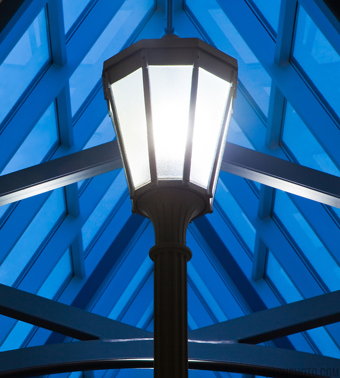 One of the post top light fixtures in Ecole St. Jeanne D'Arc in Edmonton, Alberta, Canada.