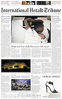 The International Herald Tribune (Cover). Thursday, February 21st, 2013