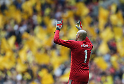Heurelho Gomes of Watford points to the skies at the final whistle - Mandatory by-line: Arron Gent/JMP - 18/05/2019 - FOOTBALL - Wembley Stadium - London, England - Manchester City v Watford - Emirates FA Cup Final