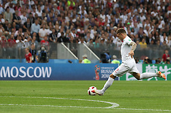 MOSCOW, July 11, 2018  Kieran Trippier of England shoots a free kick to score during the 2018 FIFA World Cup semi-final match between England and Croatia in Moscow, Russia, July 11, 2018. (Credit Image: © Cao Can/Xinhua via ZUMA Wire)
