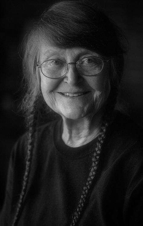 Fine art black and white portrait on film of Fran Bridgeman by Kansas City art photographer Kirk Decker.