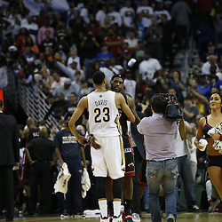Mar 22, 2014; New Orleans, LA, USA; Miami Heat forward LeBron James (6) embraces New Orleans Pelicans forward Anthony Davis (23) following a game at the Smoothie King Center. The Pelicans defeated the Heat 105-95. Mandatory Credit: Derick E. Hingle-USA TODAY Sports