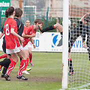 21120413 - HARELBEKE, BELGIUM : Some action happen in front of Belgium's  goal during the Second qualifying round of U17 Women Championship between Switzerland and Belgium on Friday April 13th, 2012 in Harelbeke, Belgium.