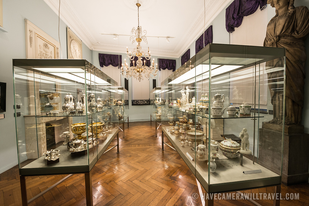 Silver on display at the Museum of the City of Brussels. The museum is dedicated to the history and folklore of the town of Brussels, its development from its beginnings to today, which it presents through paintings, sculptures, tapistries, engravings, photos and models.