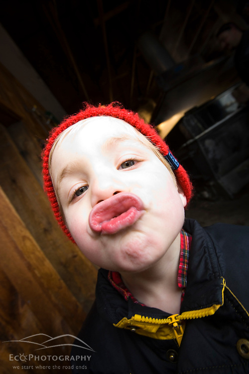 A 3 year old's funny face.  Barrington, new Hampshire.