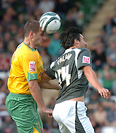 Plymouth -Saturday September 13th 2008:Rory Fallon of Plymouth Argyle and John Kennedy of Norwich City during the Coca Cola Championship match at Plymouth.(Pic by Tony Carney/Focus Images)