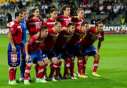Team of Serbia during football match between National Teams of Slovenia and Serbia of UEFA Euro 2012 Qualifying Round in Group C on October 11, 2011, in Stadium Ljudski vrt, Maribor, Slovenia.  Slovenia defeated Serbia 1-0. (Photo by Vid Ponikvar / Sportida)
