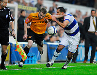 Photo: Leigh Quinnell/Sportsbeat Images.<br /> Queens Park Rangers v Hull City. Coca Cola Championship. 03/11/2007. Hulls Stephen McPhee has a battle with QPRs Chris Barker.