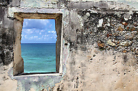 Remnants of the Lameshur Plantation, started in the 18th century for sugar production, overlook Lameshur Bay on St John in the US Virgin Islands