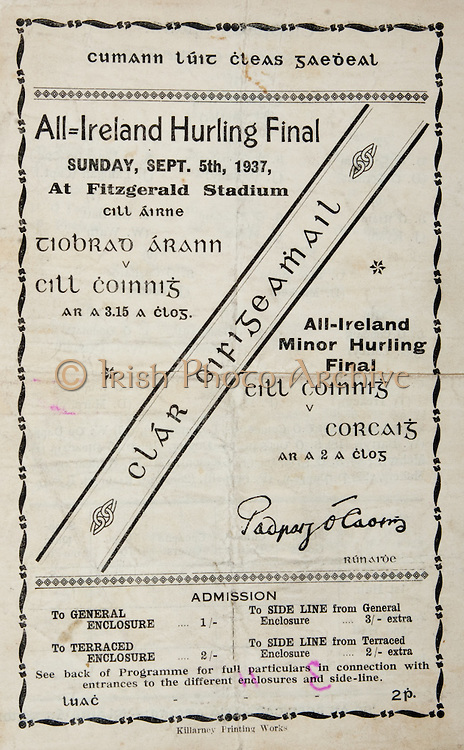 All Ireland Senior Hurling Championship Final, ..05.09.1937, 09.05.1937, 5th September 1937, .Tipperary 3-11, Kilkenny 0-3,.Minor Kilkenny v Cork, .Senior Tipperary v Kilkenny, .Fitzgerald Stadium, 05091937AISHCF,..