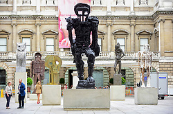 © Licensed to London News Pictures. 31/05/2019. LONDON, UK.  A major installation of six recent sculptures by celebrated artist Thomas Houseago is unveiled in the courtyard of the Royal Academy of Arts in Piccadilly.  The installation forms part of The Summer Exhibition which runs 10 June to 12 August 2019.  Photo credit: Stephen Chung/LNP