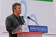 WMRT President, Scott Mcleod adresses the crowd at the opening ceremony of the Korea Match Cup and Korea Boat show held in San Hwasung City in the Gyeonggi Province of Korea. 11/6/2008